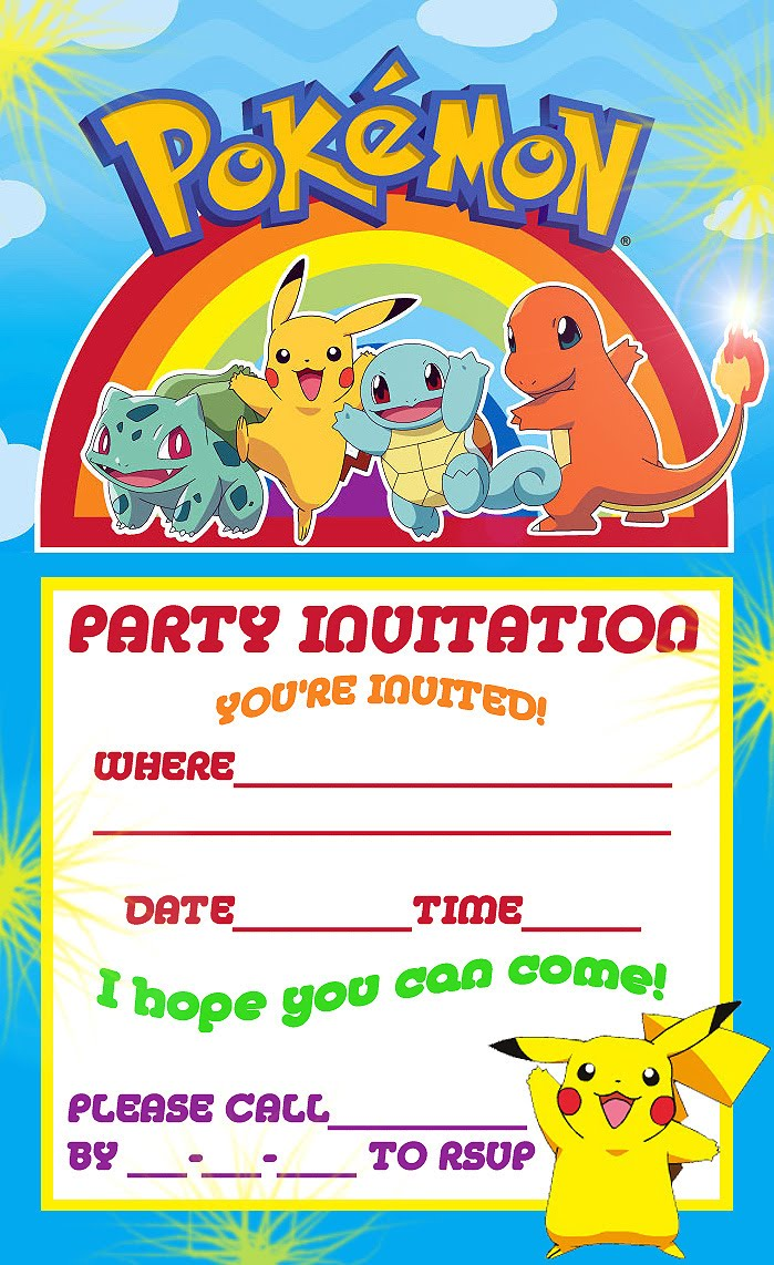 Accomplished image inside pokemon party invitations free printable