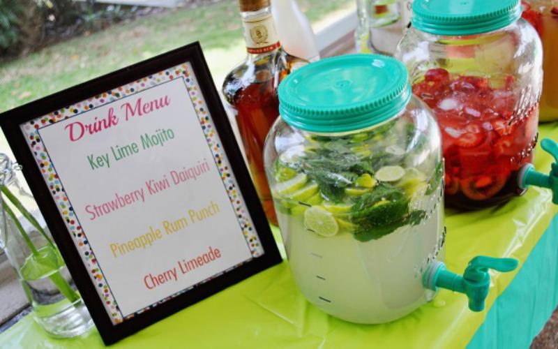 drinks menu at party