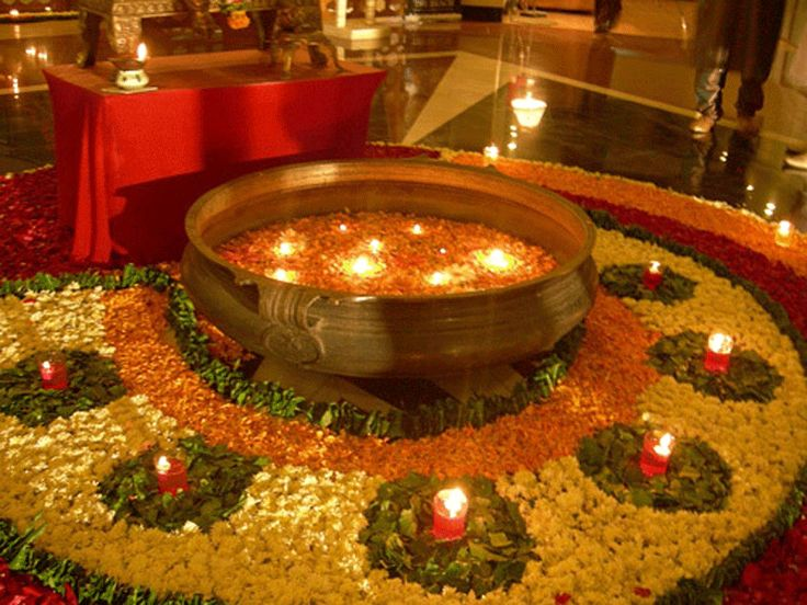 Flowers And Diya Decor