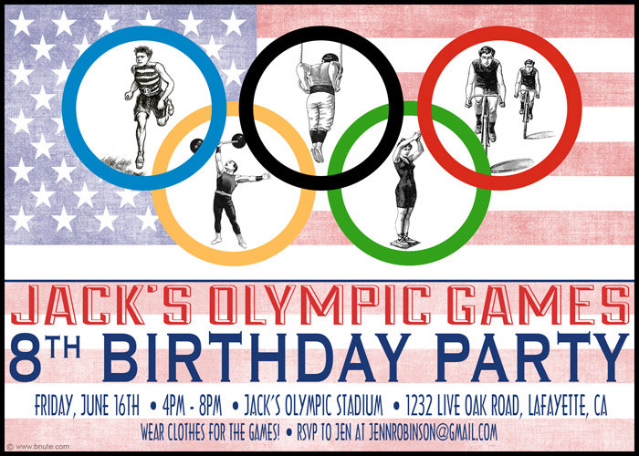 Olympic Themed Birthday Invite