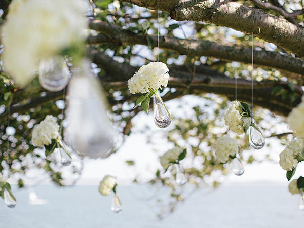 white roses crystal sling wedding prop