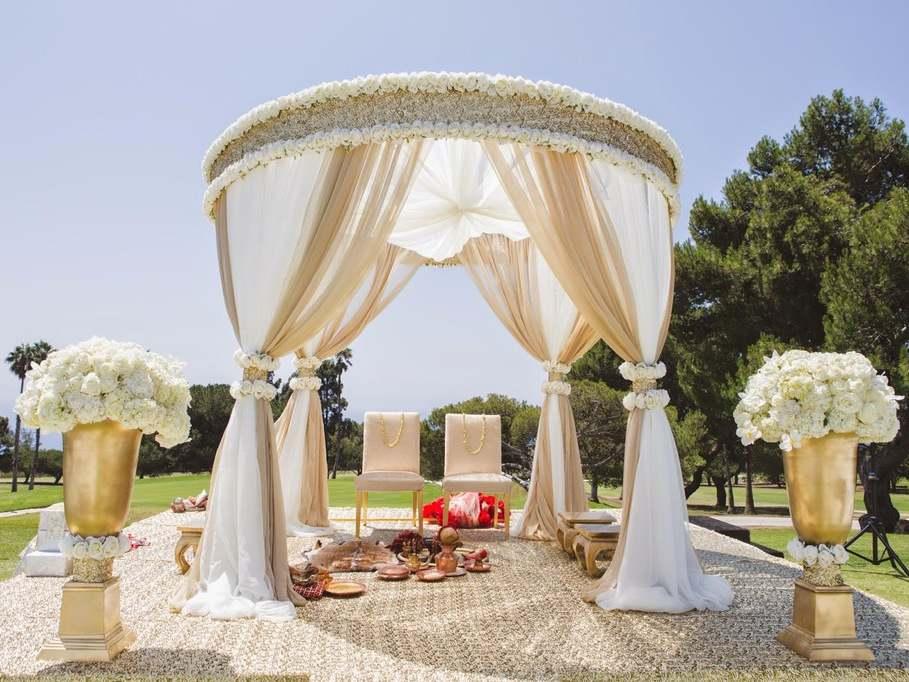 white circular floral roses mandap wedding prop