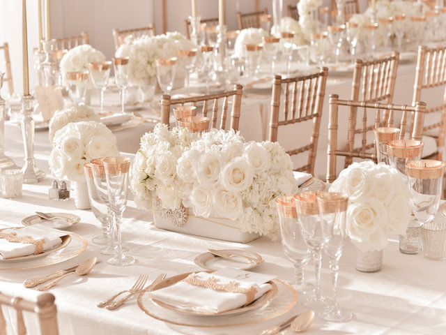 white roses floral table wedding prop