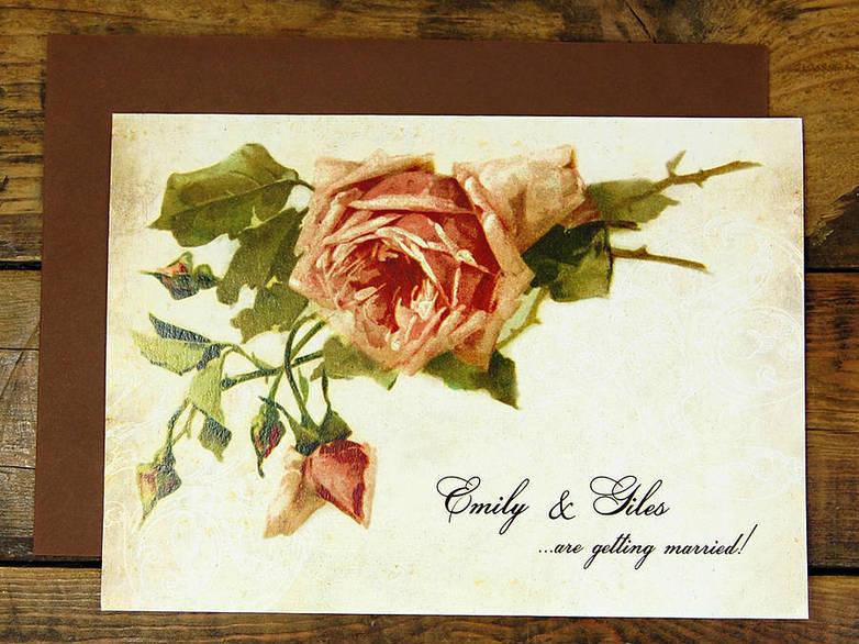 vintage painted rose invitation card