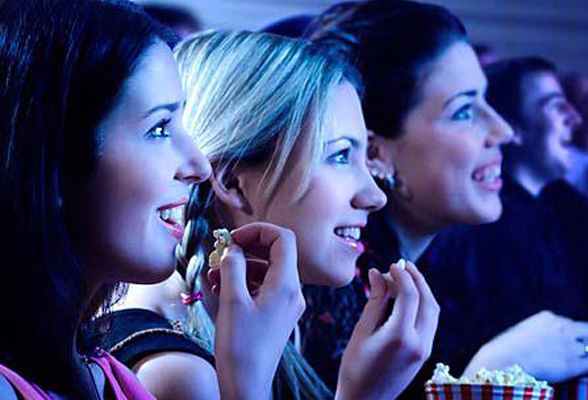 3-girls-watching-movie-bachelorette party ideas
