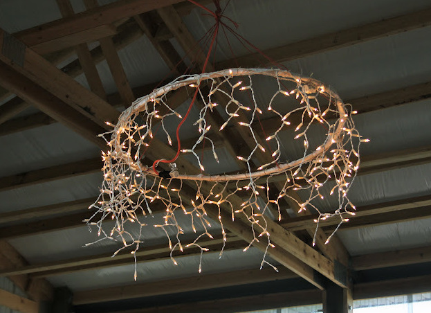 Chandeliers with hula hoop party lights