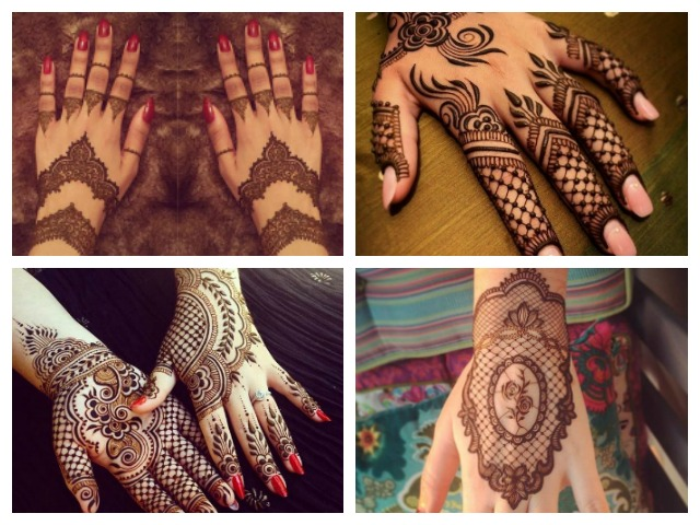 trendy indian bridal mehndi designs- Lace gloves / cuff design