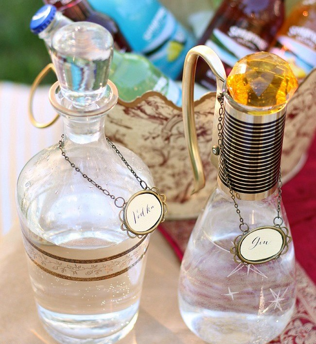 Moroccan themed cocktail bottles- cocktail party theme ideas