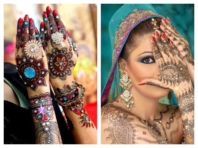 trendy indian bridal glittery mehndi designs, Jazzy Colors and Glitters, Indian Bridal Mehendi Designs