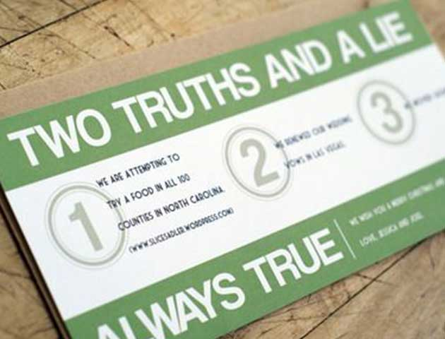 Two truths' and a lie Fun office party game ideas