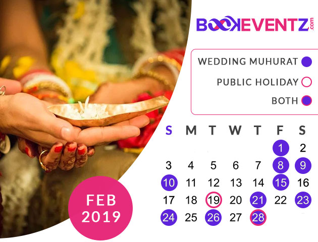 Wedding Dates in February 2019, Marriage Dates in February 2019, marriage dates in 2019, marriage muhurat in 2019, 2019 marriage dates, wedding dates in 2019, hindu calendar 2019