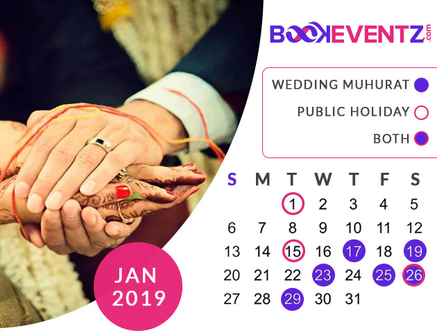 Wedding Dates in January 2019, Marriage Dates in January 2019, marriage dates in 2019, marriage muhurat in 2019, 2019 marriage dates, wedding dates in 2019, hindu calendar 2019