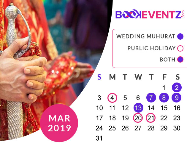 Wedding Dates in March 2019, Marriage Dates in March 2019, marriage dates in 2019, marriage muhurat in 2019, 2019 marriage dates, wedding dates in 2019, hindu calendar 2019