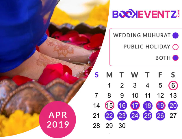 Wedding Dates in April 2019, Marriage Dates in April 2019, marriage dates in 2019, marriage muhurat in 2019, 2019 marriage dates, wedding dates in 2019, hindu calendar 2019