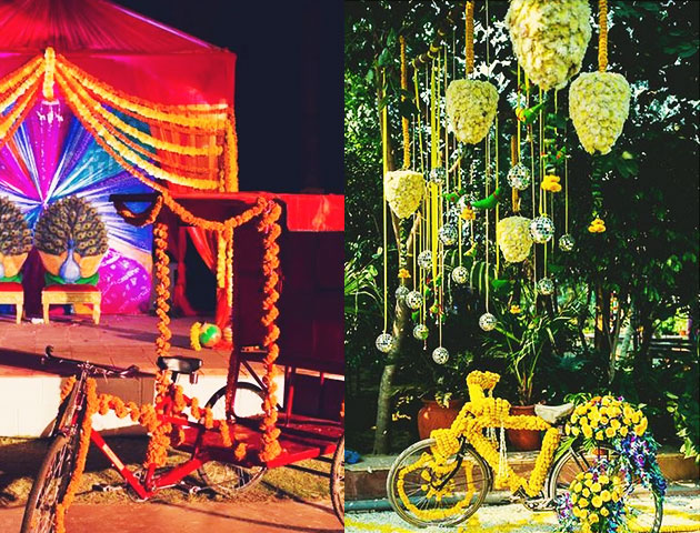 Cycle wrapped in flowers - Mehendi Decor