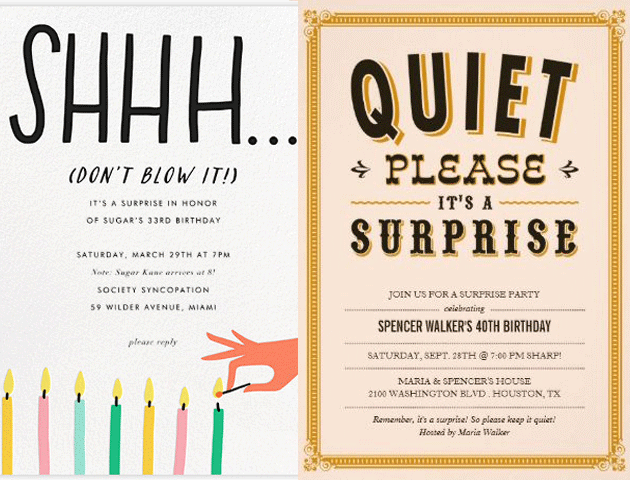 Surprise Party Whatsapp Invitation Cards