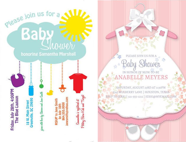 Baby Shower Invitation Cards For Boys And Girls That Are