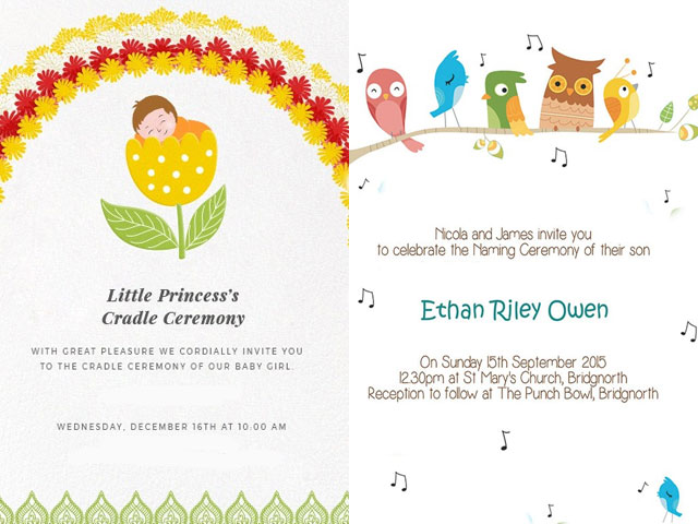 Super Cute Naming Ceremony Invitation Card Templates and Invitation
