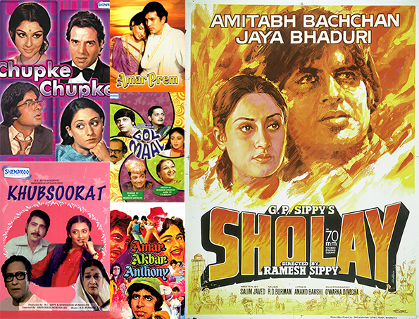 anniversary gifts for parents, marriage anniversary gift, chupke chupke, sholay, khubsorat, amar akbar anthony, golmaal, amarprem, hindi movie poster collage
