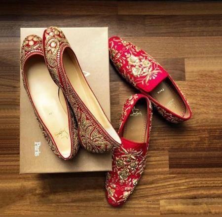 Deepika Padukone's Juttis, Ranvir Singh's Loafers, Deepika wedding shoes, Ranvir wedding shoes, latest bridal jutti, latest bridal shoes, groom's shoes, wedding shoes