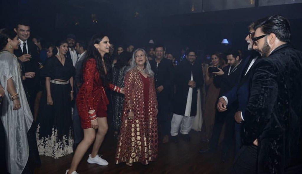 Deepika Padukone shoes, deepika padukone reception, deepika padukone dance, deepika ranvir amitabh jaya