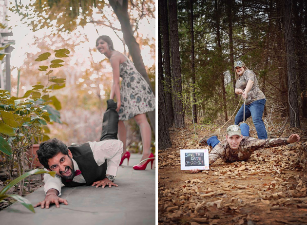 pre wedding photoshoot poses, pre wedding shoot poses, funny marriage photoshoot, Pre Wedding Shoot Ideas, rope, save the date, red heels, army couple,