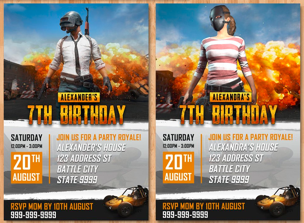 Pubg birthday invites, pubg birthday theme, player unknowns battleground, battle royale