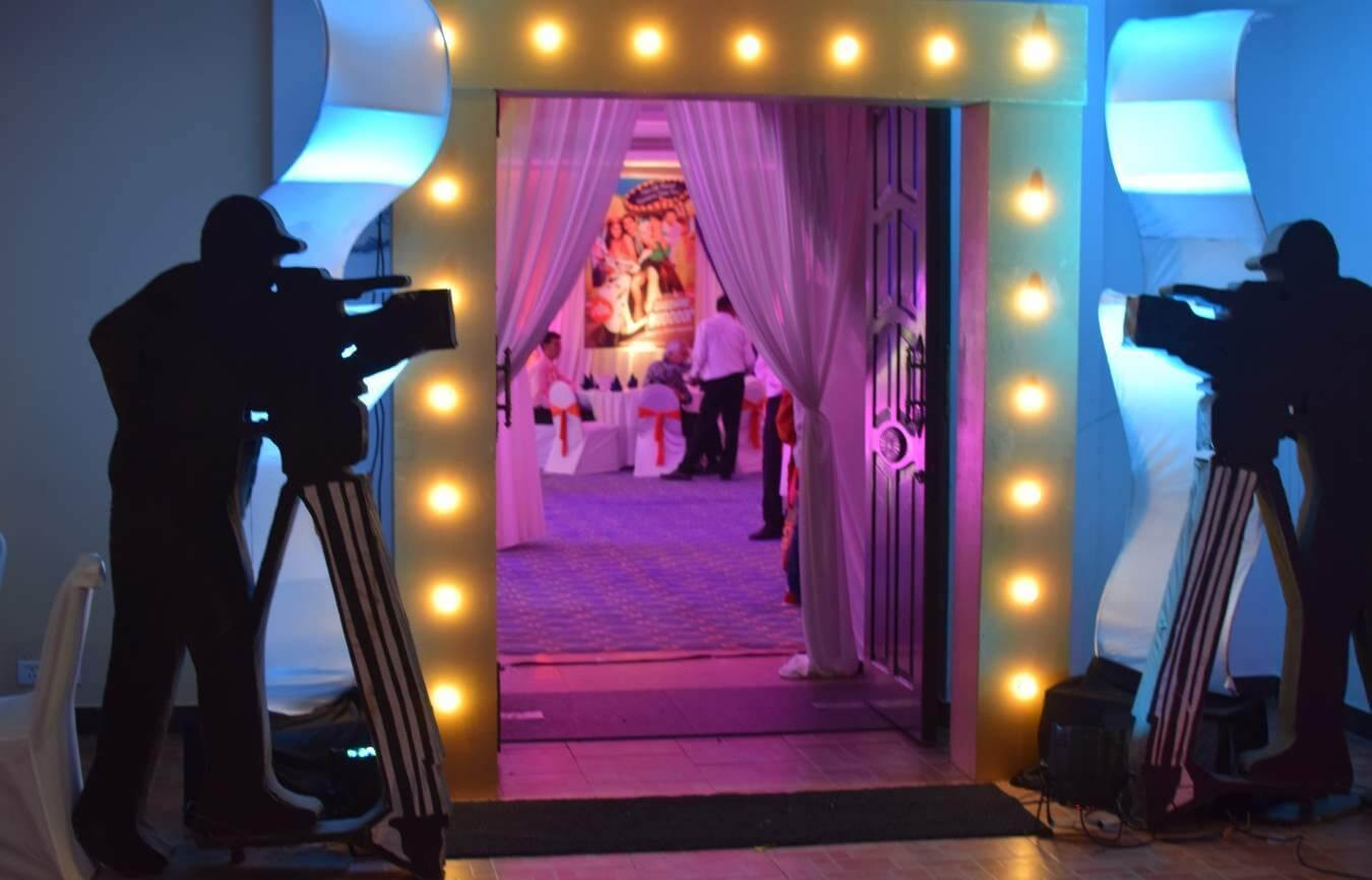 bollywood theme wedding, bollywood party, multi camera setup, bollywood cinema ,bollywood style, bollywood theme party, Bollywood decor, bollywood exterior