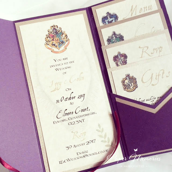 Harry Potter Birthday Party Ideas Invites Featuring Different Houses