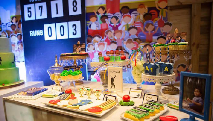 cricket theme, cricket party, 7 course meal, 7 course meal menu, ipl party