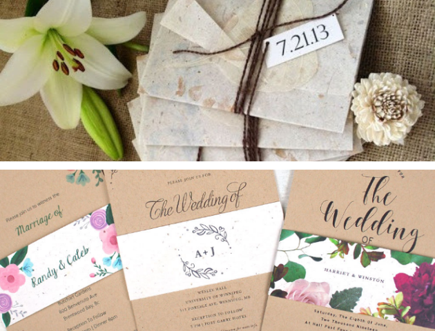 Handmade Wedding Invites, eco-friendly wedding invitations