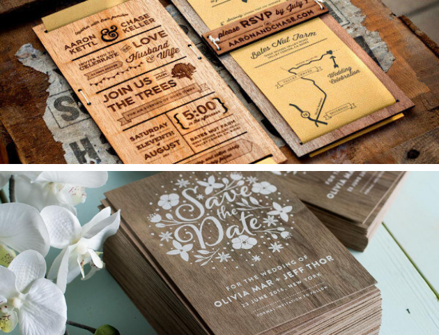 Wooden Wedding Invitations, eco-friendly wedding invitations