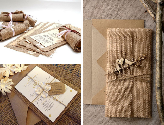 Jute wedding invitations