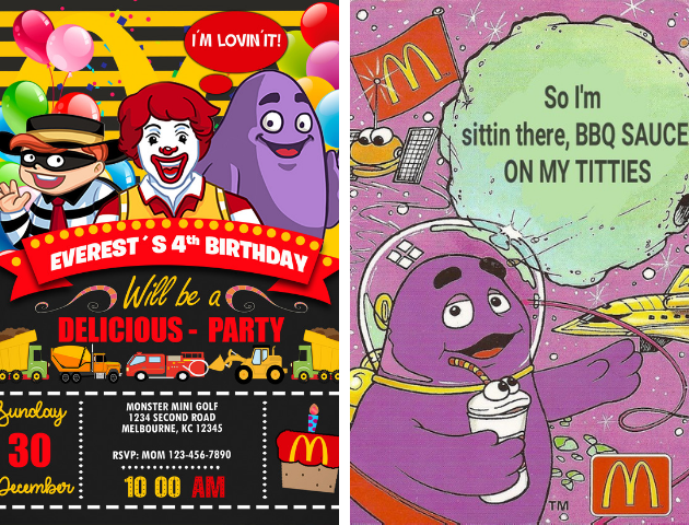 McDonalds birthday invites
