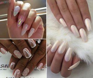 Shiny bridal nail art design idea