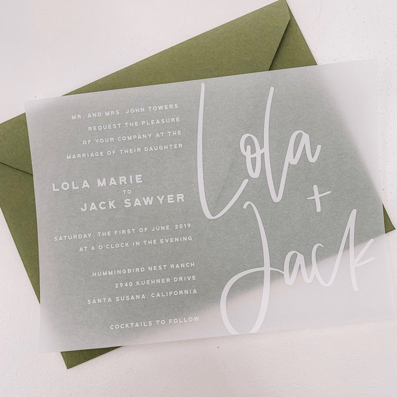 vellum paper unique wedding invites