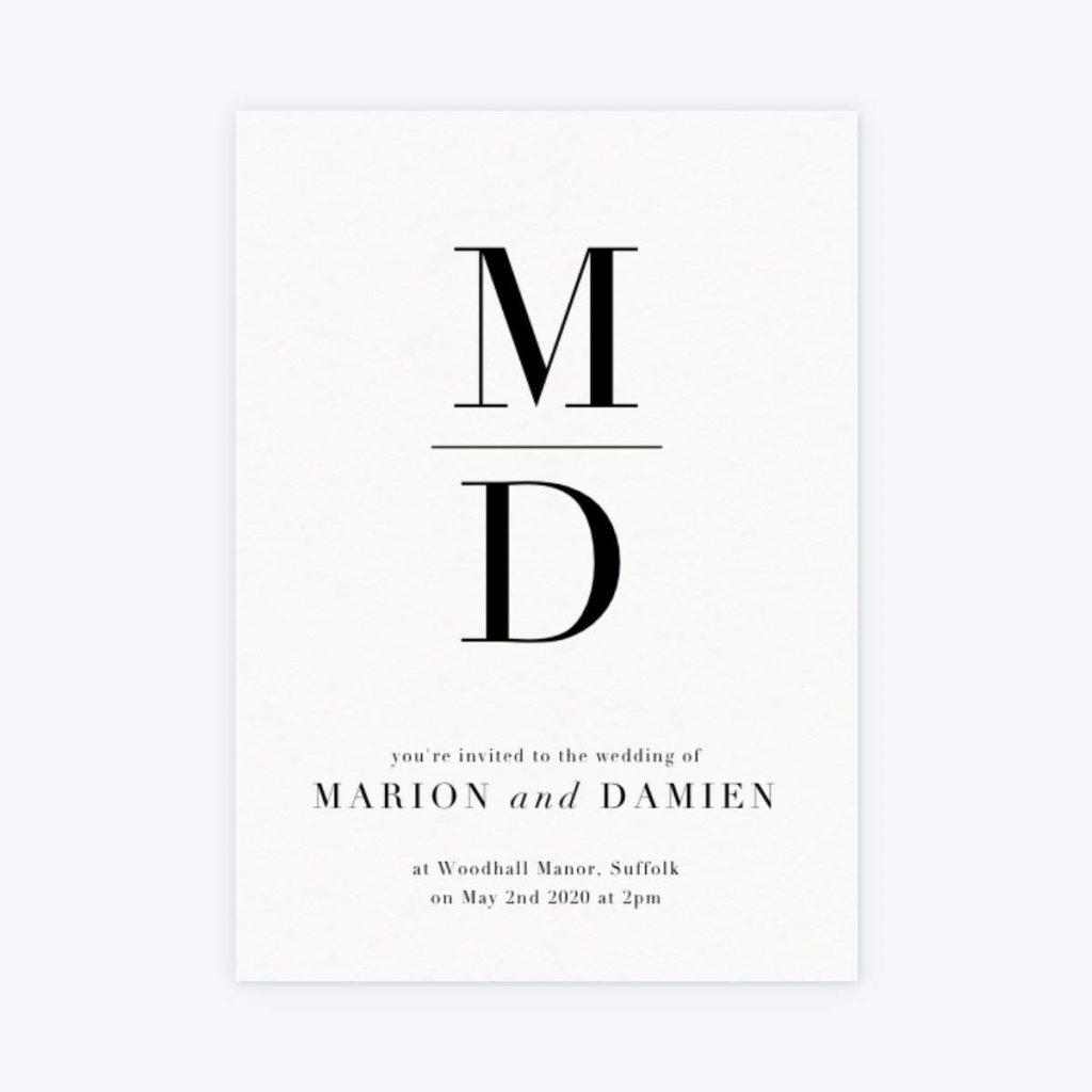 monogram unique wedding invites