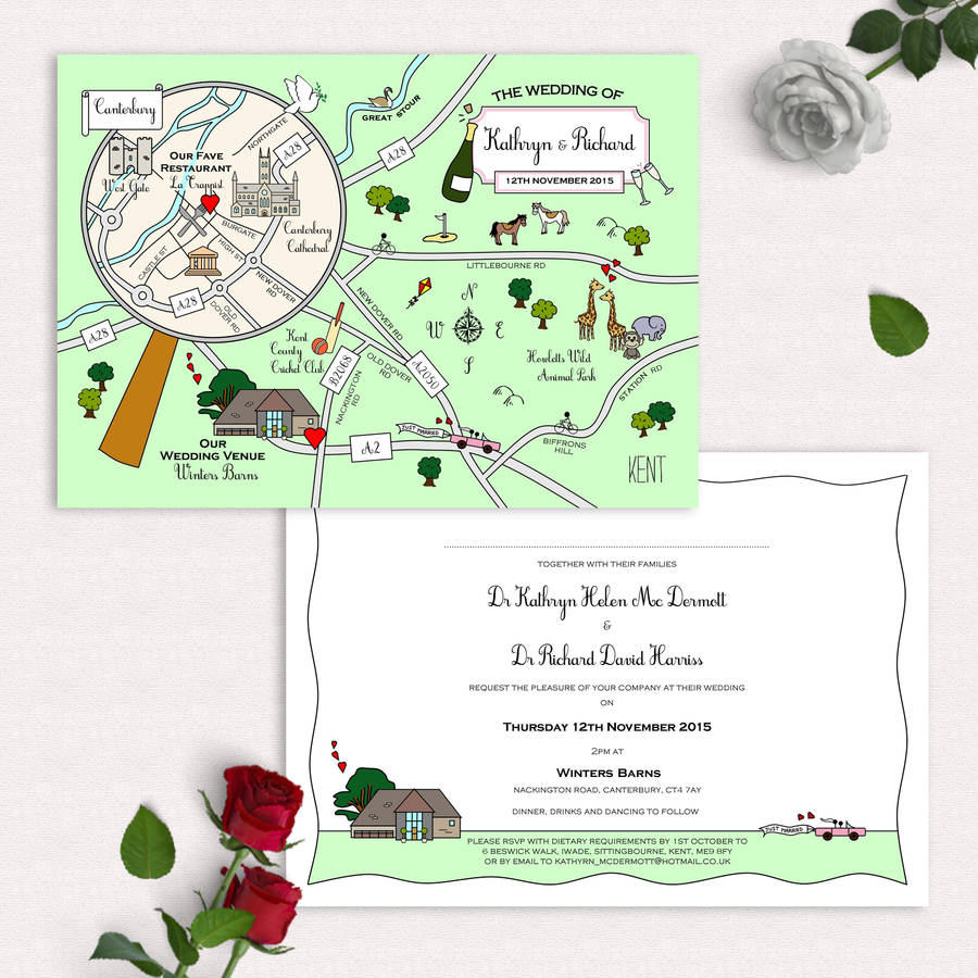 mapped out unique wedding invites