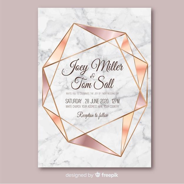 geometric unique wedding invites