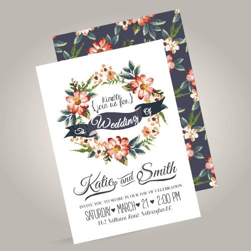 watercolour unique wedding invites