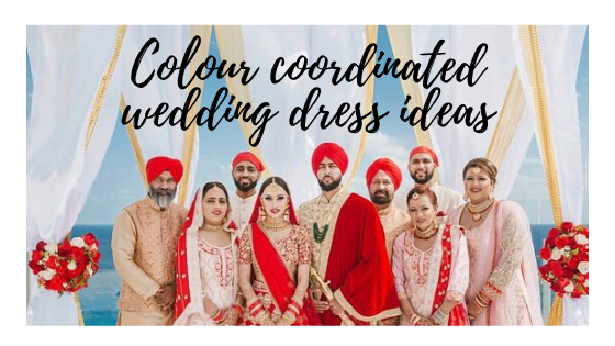 Colour coordinated wedding dress ideas