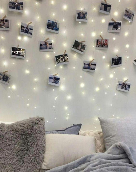 Memorable Proposal Ideas - Wall full of pictures and LED lights