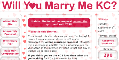 Memorable Proposal Ideas - Interactive website for marriage proposal
