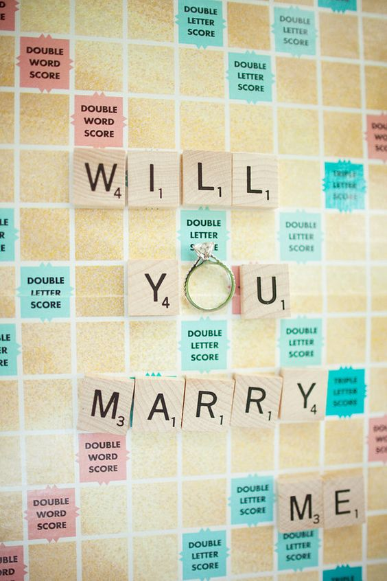 "Memorable Proposal Ideas- Scrabble word game to form the sentence ""Will you marry me"""