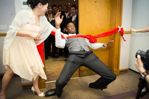 Chinese wedding tradition, where bridesmaid plays wedding door games with the groom
