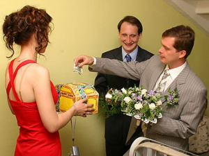 vykup nevesty a ceremony in Russian culture to ask brides hand in marriage