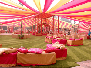Set up sitting chairs far from each other in open grounds to maintain social distancing in your safe wedding
