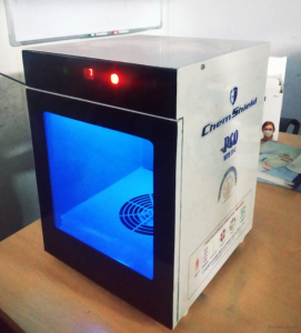 UV-PCO Sanitizing machine to disinfect morning walk belongings.