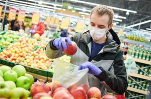 Gloves and mask- covid free vegetables