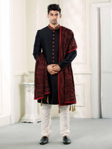 embroidered shawl indo western sherwani